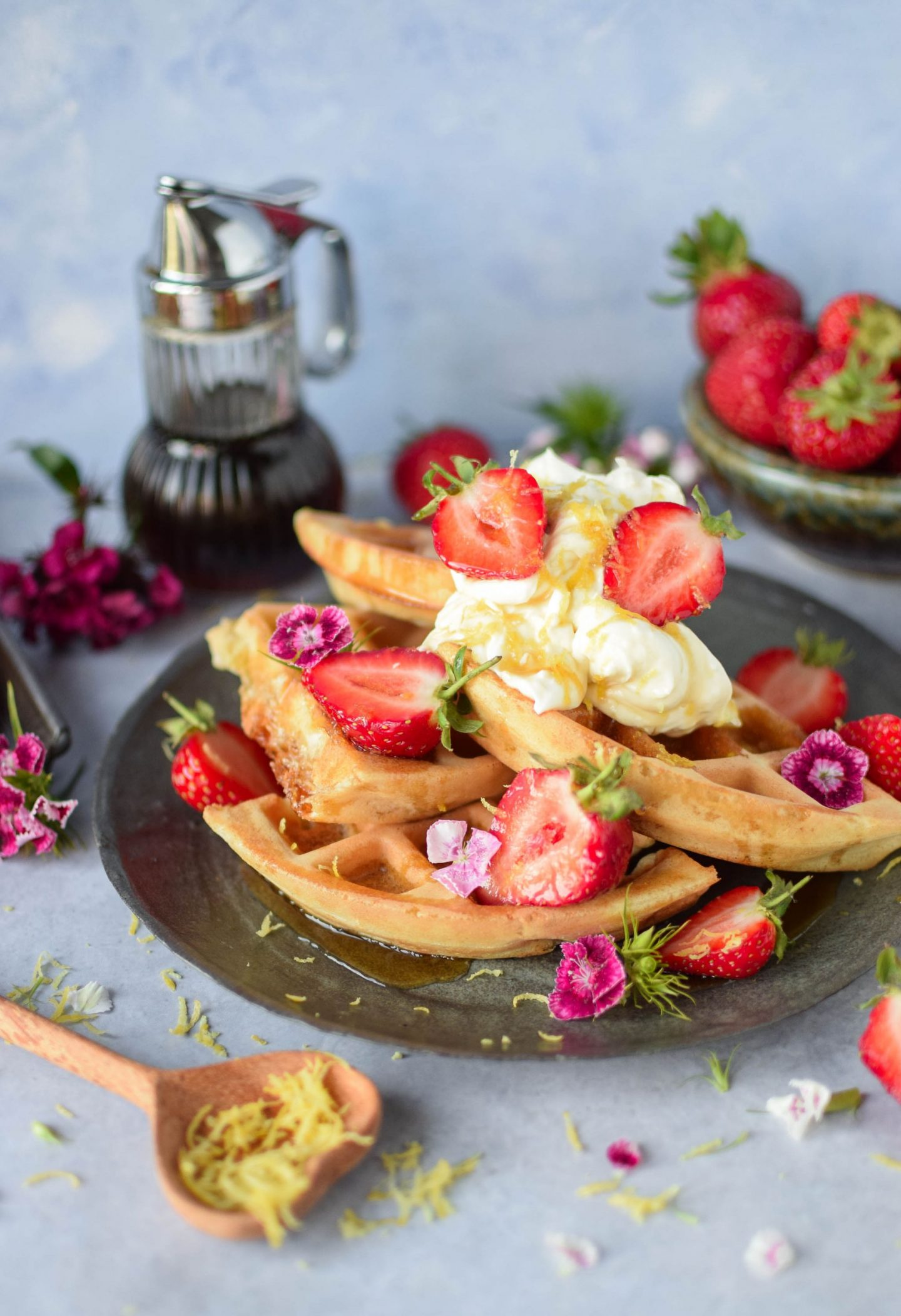 Overnight Lemon and Strawberry Waffles