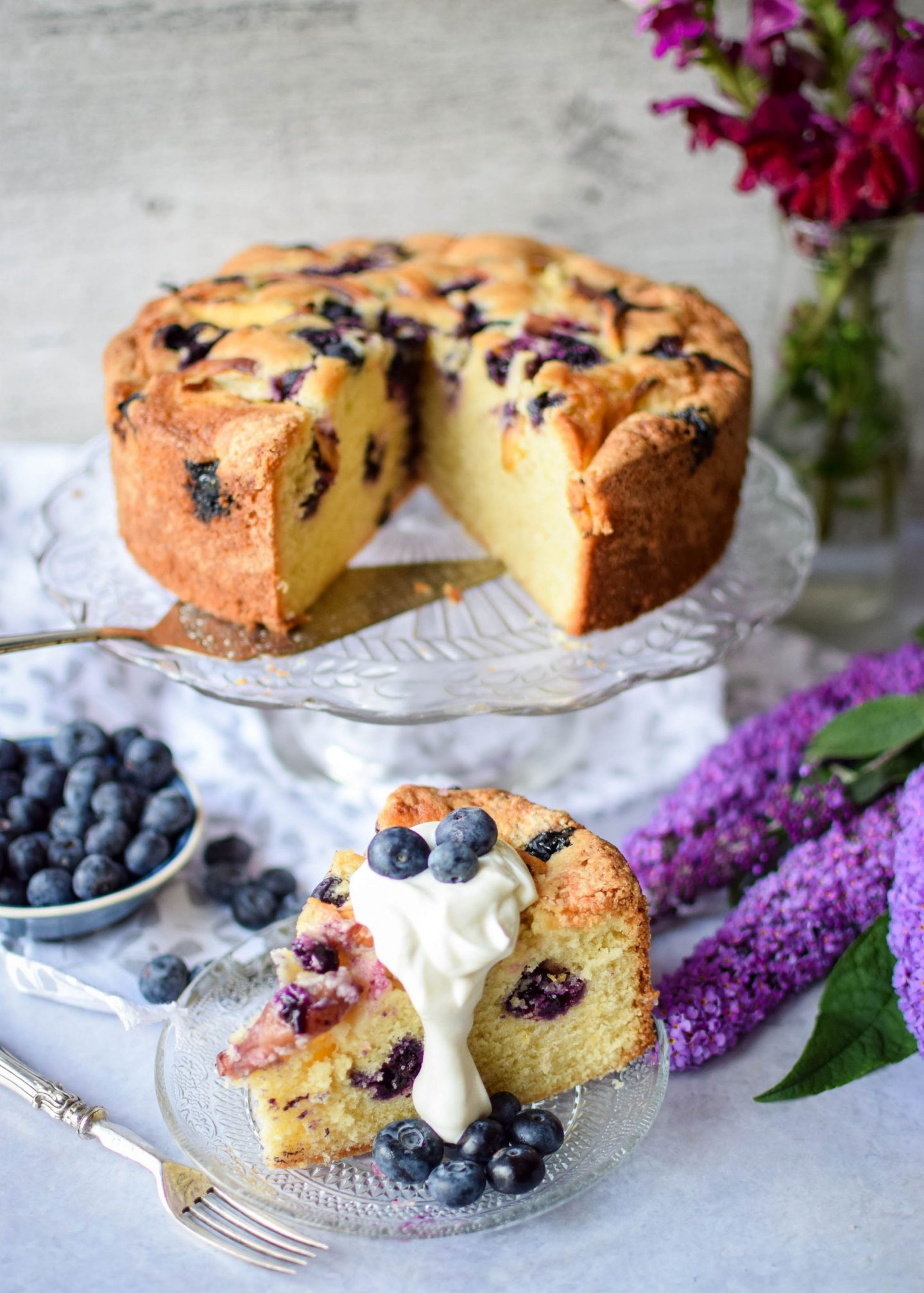 Blueberry and nectarine cake