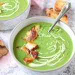 Pea and mint soup with halloumi croutons