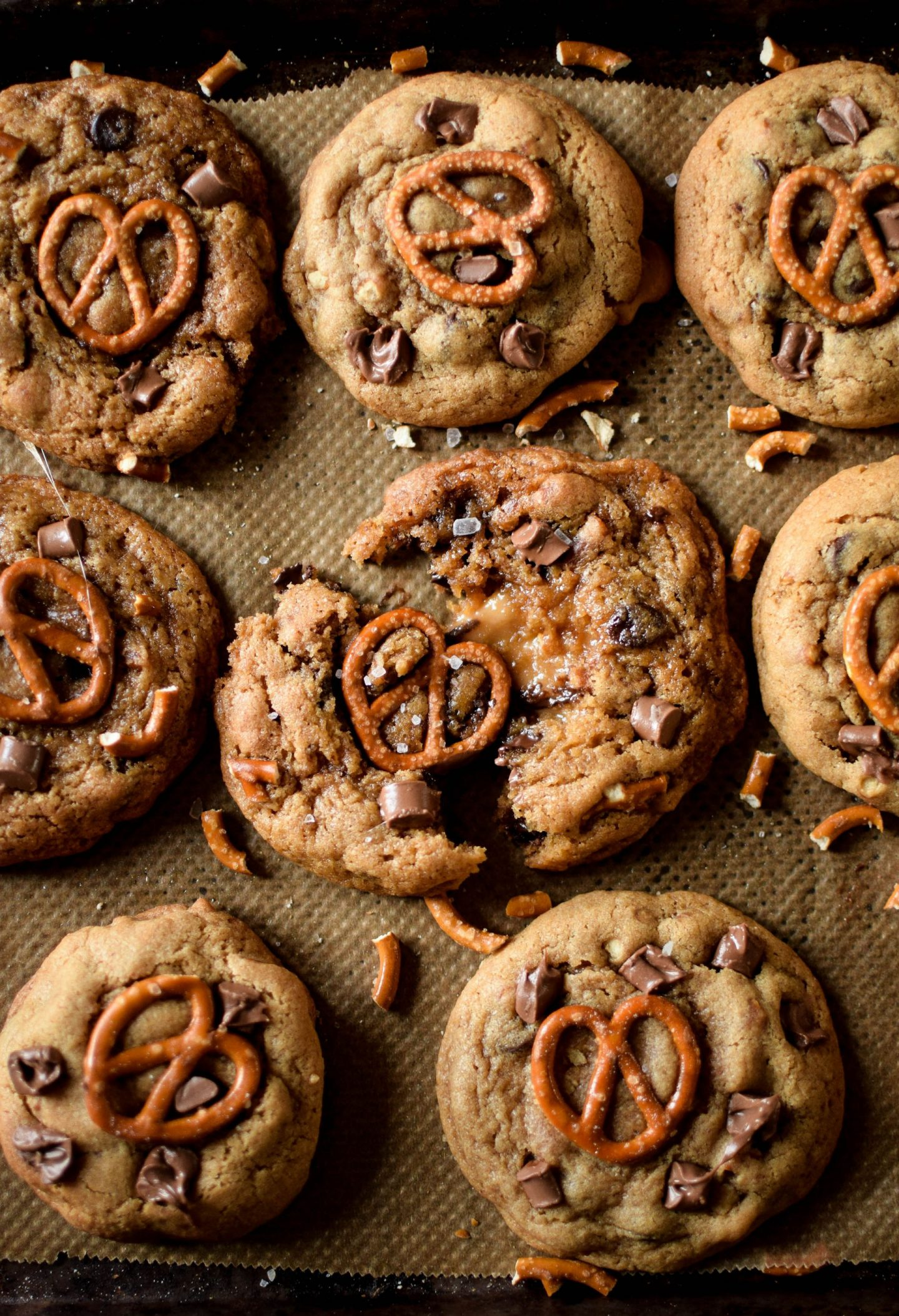 Caramel Stuffed Pretzel Chocolate Chip Cookies