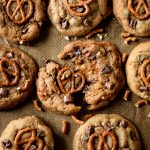 Caramel Stuffed Pretzel Chocolate Chip Cookies