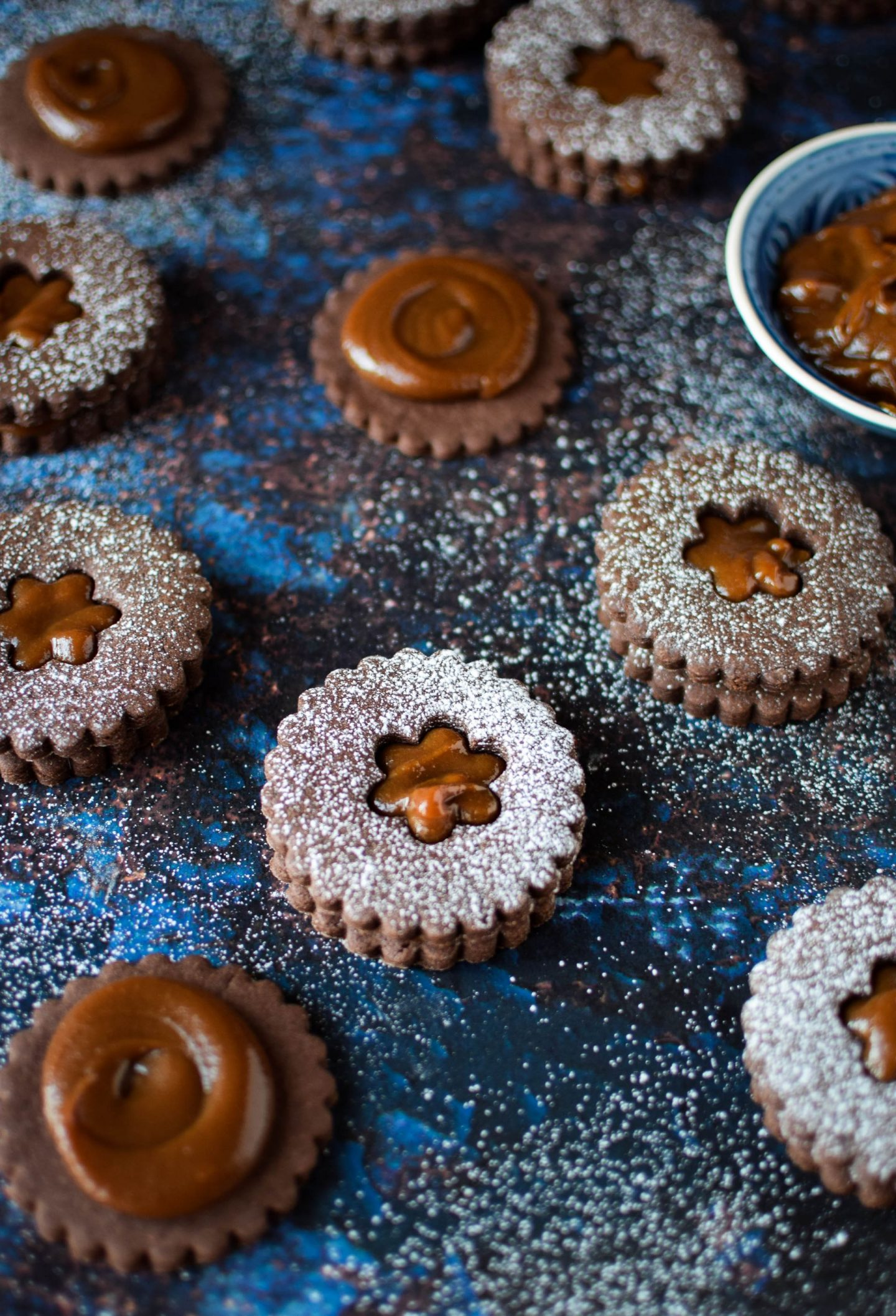 Chocolate Dulce De Leche Linzer Cookies