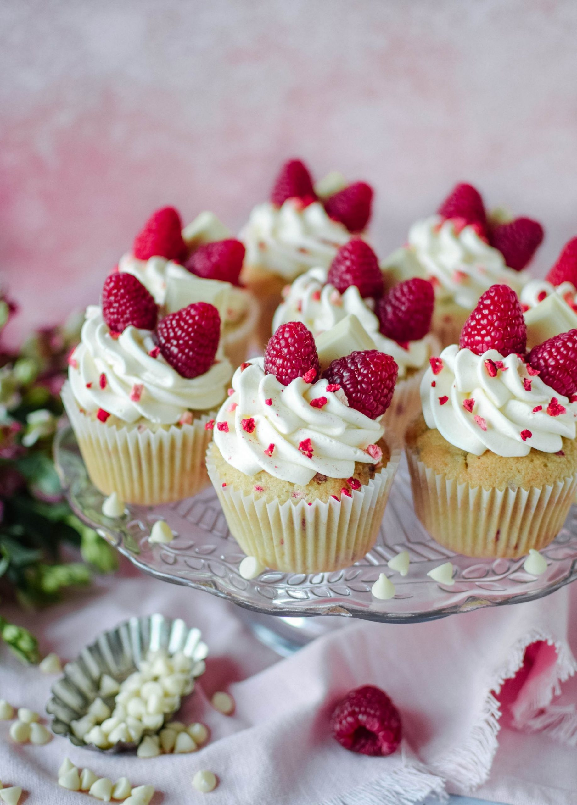 Raspberry and White Chocolate Cupcakes - Katie Cakes