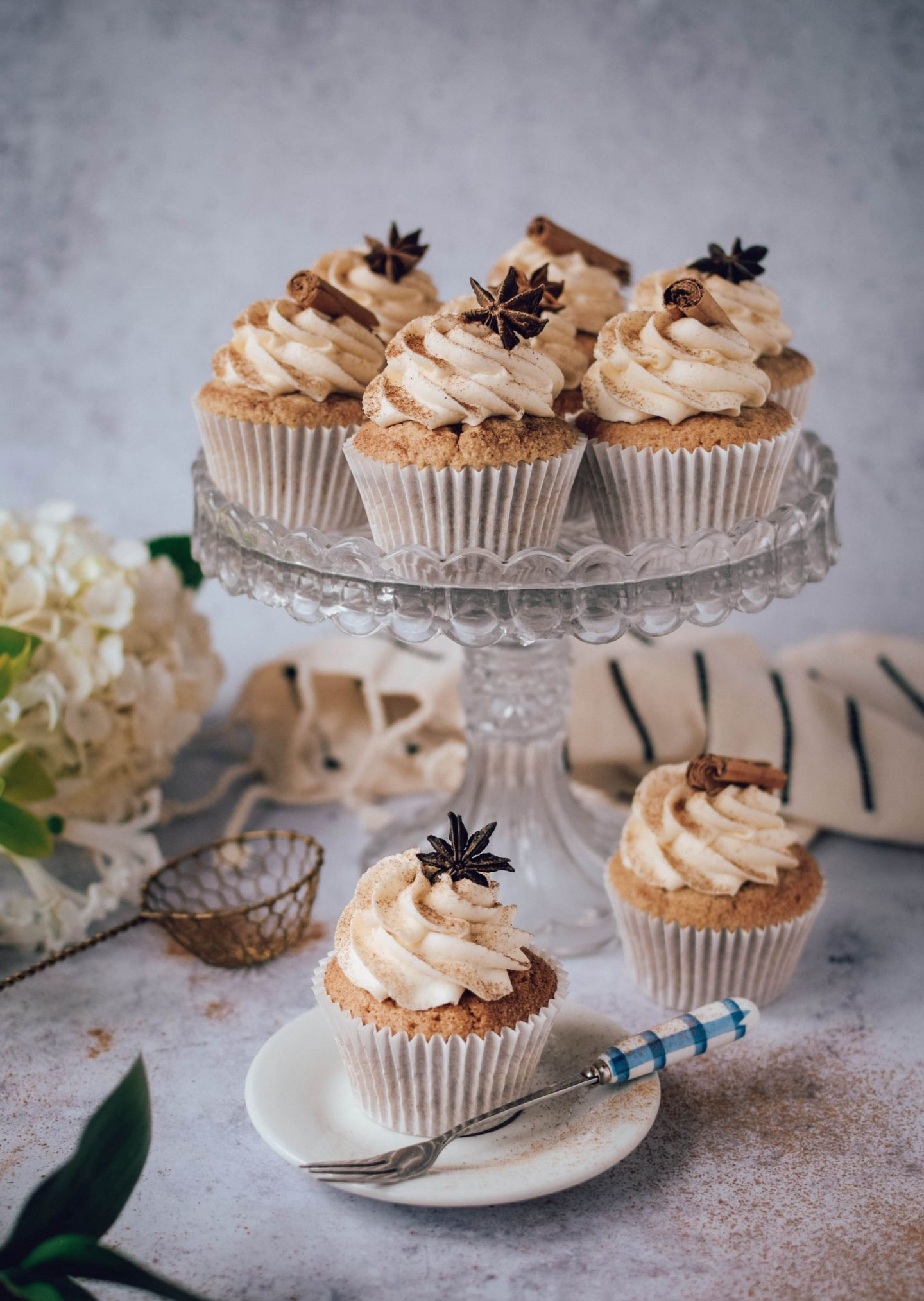 Chai Spiced Cupcakes on a cake stand