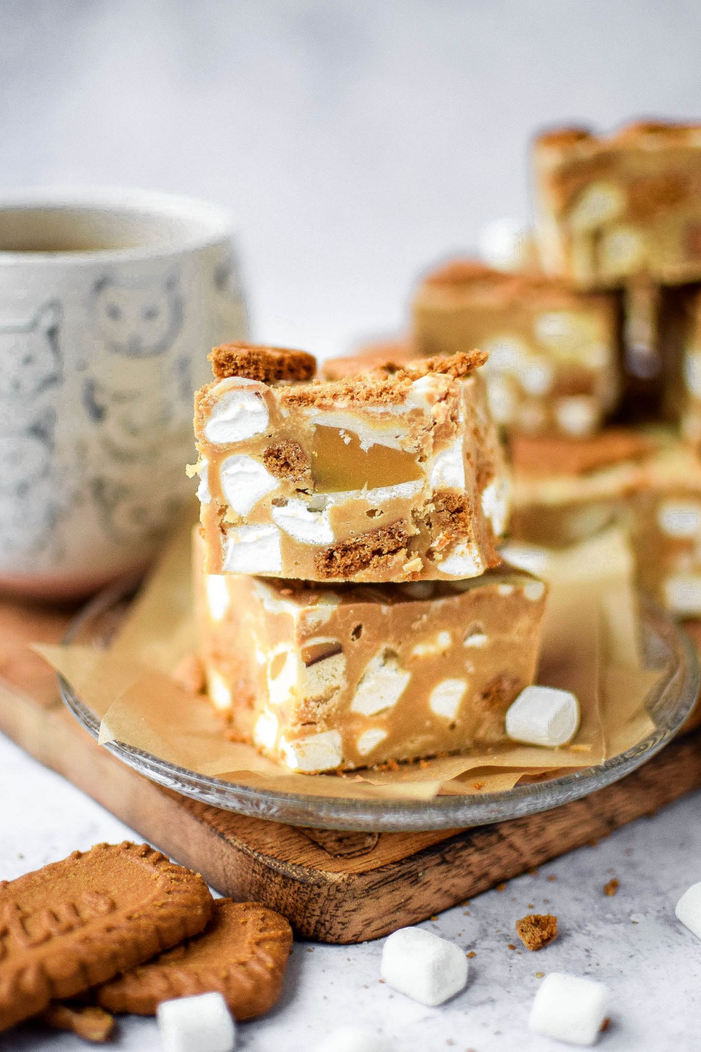Biscoff Rocky Road piled on a plate