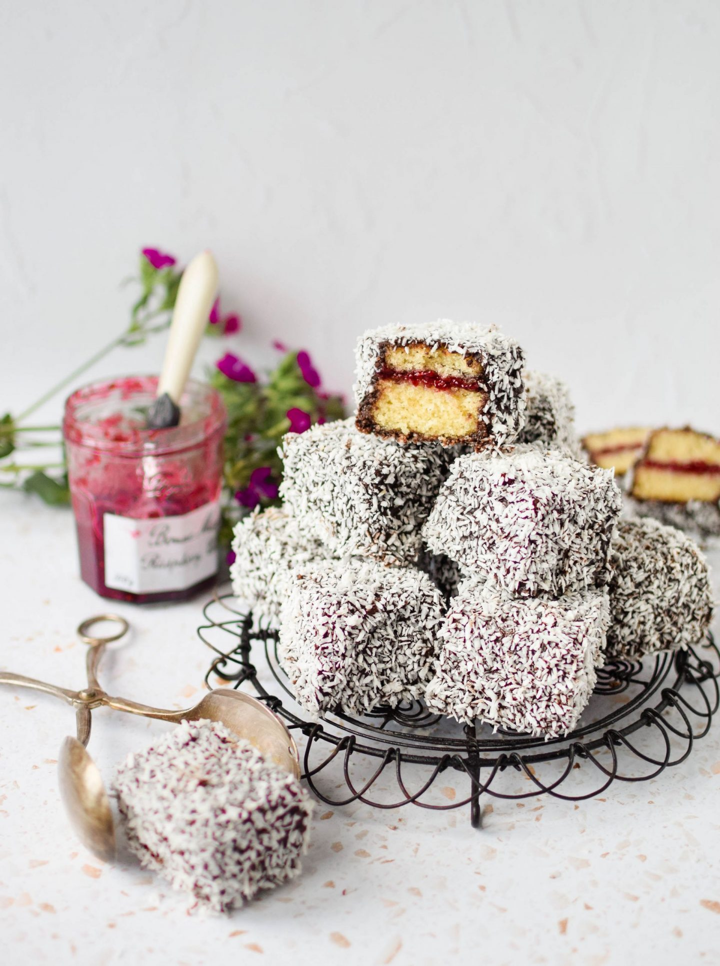 Wide shot of a pile of homemade lamington cakes