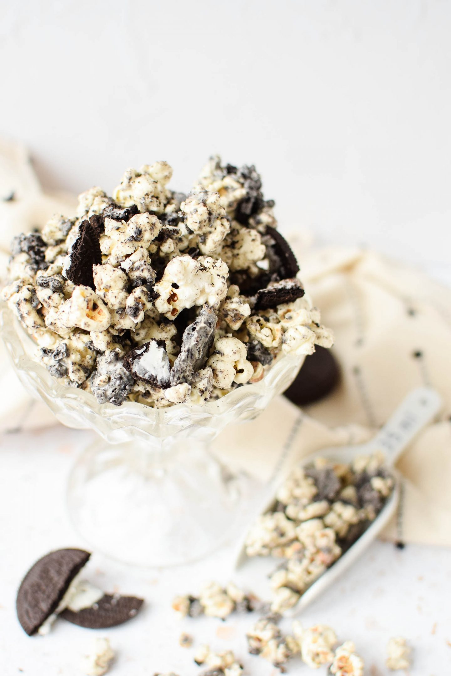 Glass bowl filled with Oreo Popcorn