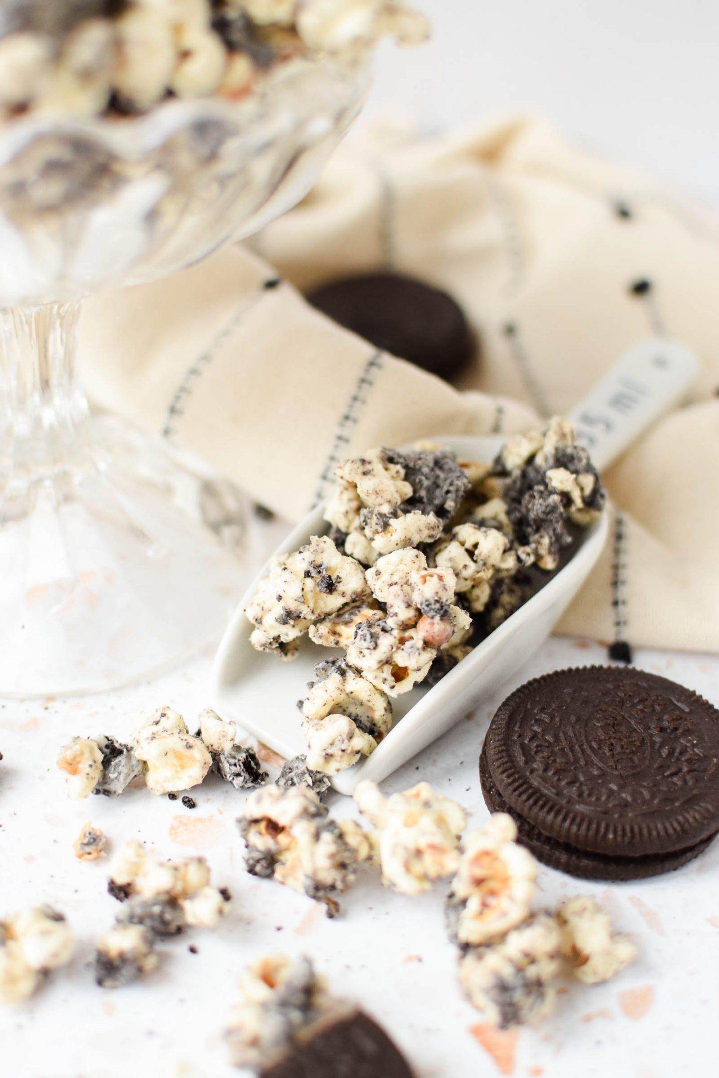 Tiny scoop full of Oreo Popcorn